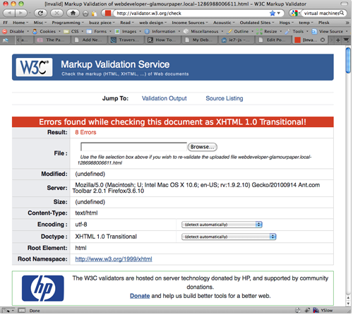 W3C Validation Screenshot