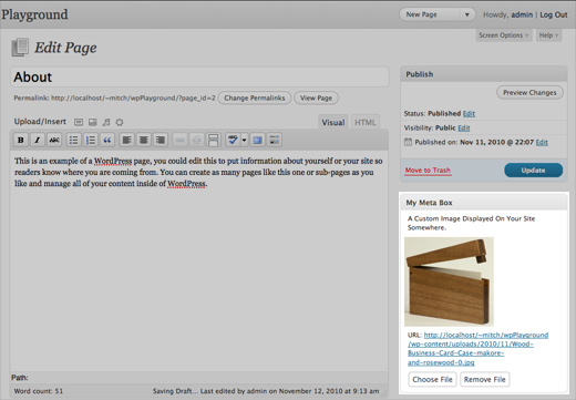 Wordpress Edit Post Screen Showing Custom Meta Box